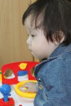 Sarang in the SWS playroom during our 2nd visit — wearing the little denimblazer…